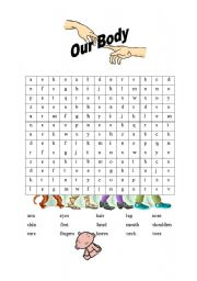 English Worksheets: Parts of the body wordsearch