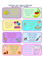 English Worksheets: Name as Many Things as you Can in a Minute Vocabulary Game (Part 1 of 4)