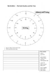 English Worksheet: Daily Routine and the Time - My Portfolio