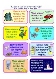 English Worksheets: Name as Many Things as you Can in a Minute Vocabulary Game (Part 2 of 4)