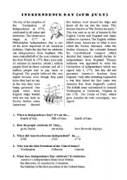English teaching worksheets: 4th July: Independence Day