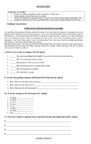 English Worksheets: reading comprehension / english test