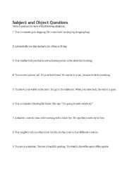 English Worksheet: Subject and Object Questions Worksheet