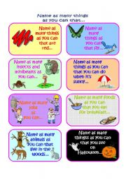 English Worksheets: Name as many things as you can in a minute Vocabulary Game Part 3 of 4