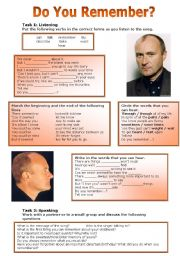 English Worksheets: Do You Remember? by Phil Collins