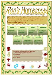 English Worksheet: Be going to-positive, negative
