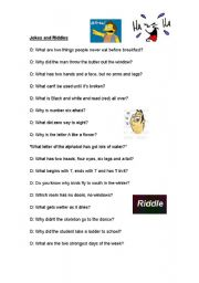 English Worksheets: Jokes and Riddles