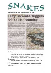 English worksheet: Snakes (1 of 3 )