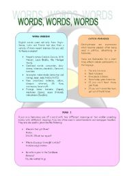 English Worksheet: Wors, Words, Words