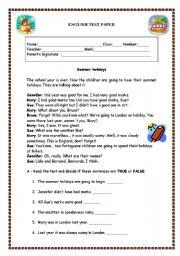 English Worksheet: Test paper - Summer Holidays