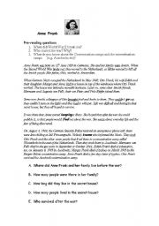 English Worksheets: reading comprehension anna frank