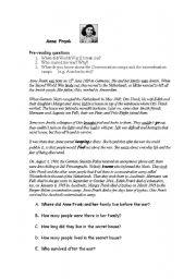 English Worksheets: reading comprehension anna frank