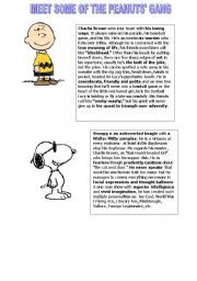 English Worksheets: peanuts : information about some characters of the gang