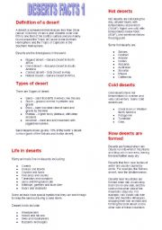 English Worksheets: deserts facts 1