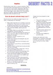 English Worksheets: deserts facts 2