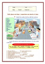 English Worksheet:         Public places and shops / prepositions and adverbs of place