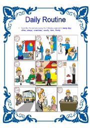 English worksheet: Daily Routines/ Frenquency adverbs
