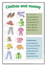 English Worksheet: Asking for prices (pair game- speaking activity)