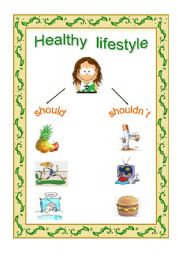 Printables Healthy Lifestyle Worksheets english worksheet healthy lifestyle