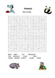 English Worksheet: ANIMALS WORD SEARCH