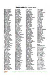 English Worksheet: Binomial Pairs List