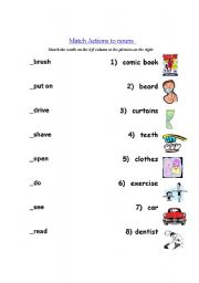 English Worksheets: Match Actions to nouns