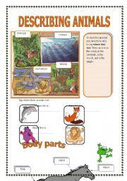 English Worksheet: Describing animals (part 1/2)