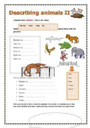 English Worksheet: Describing animals (part 2/2)