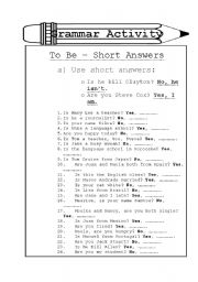 English Worksheets: To be - short answers