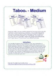 English Worksheet: Game cards inspired on the Taboo� Board Game - Medium