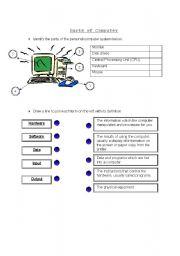 English Worksheet: Parts of  Computer