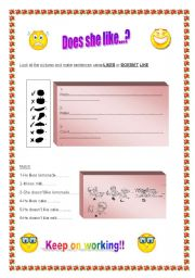 English worksheet: Likes-doesn´t like-some-any