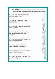 English Worksheets: animals description