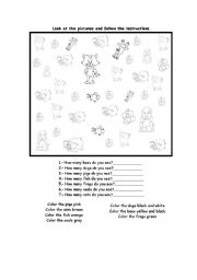 English Worksheets: animals and numers