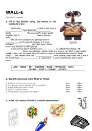 ESL worksheets for beginners: Wall-E