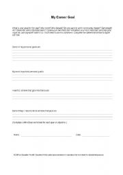 English Worksheets: personal goal for students