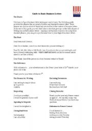 English Worksheet: Guide to business letters