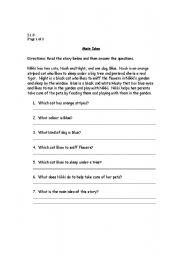 English Worksheet: Main Idea, Making Inferences & Sequencing