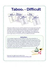 Game cards inspired on the Taboo® Board Game - Difficult