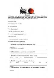 English Worksheets: James and the Giant Peach -Chapter 1-