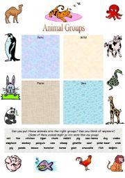 esl worksheets for beginners animal groups. Black Bedroom Furniture Sets. Home Design Ideas