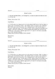 English worksheet: Possessive letter