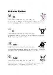 English Worksheet: Chinese Zodiac