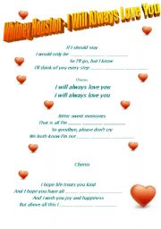 English Worksheet: Song  by Whitney Houston - I Will Always Love You + video clip link+ key