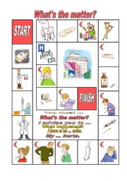 English Worksheet: what´s the matter boardgame