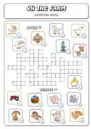 English Worksheet: On the Farm (2a/3) - Crossword Puzzle + Answer Key