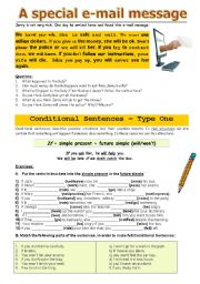 English Worksheet: A special e-mail message