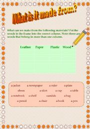 English Worksheets: What is it made from?