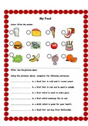 English Worksheet: My Food Quiz