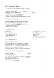 English Worksheets: DON�T STOP ME NOW- QUEEN